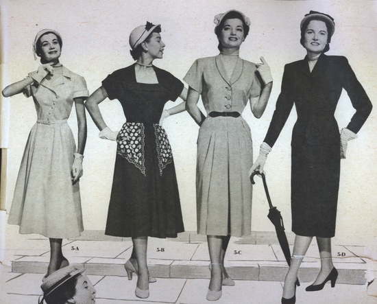 """Scan from """"Fashions for Summer in Kansas City"""" ~1950. I love the poses of these models!"""