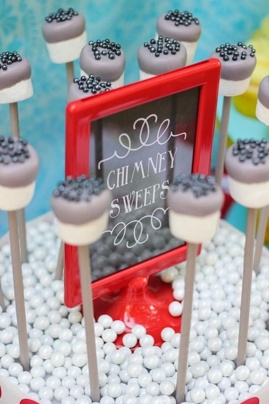 Chimney sweeps marshmallow pops! Mary Poppins Party with Lots of Really Cute Ideas via Kara's Party Ideas