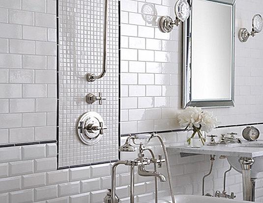 white tiled bathroom - I love the styling details