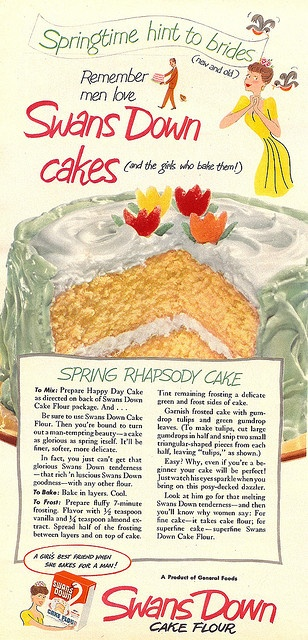 """Swans Down cake flour ad with recipe for """"Spring Rhapsody Cake""""     """"Just watch his eyes sparkle when you bring on this posy-decked dazzler""""    from May 1951 issue of Woman's Day magazine"""