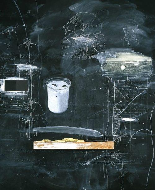 Vernon Fisher, Evidence of Houdini's Return, 1994.  Vernon Fisher. Oil, blackboard slating, wood.