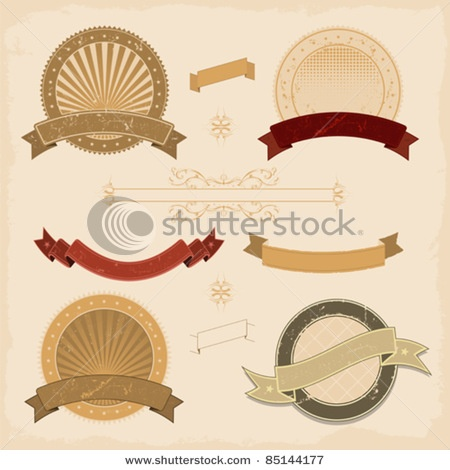Stock Vector Illustration: Graphic Banner And Icons Collection/ Illustration of a collection of design grunge vintage banners, labels, seal stamper and icons