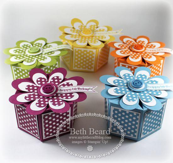Stampin' Up! Milk Carton Die  by Beth Beard at My little craft blog: Birthday Treat Boxes Tutorial