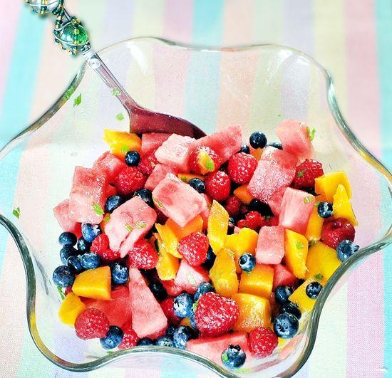 Addictive Fruit Salad by chocolatecoveredkatie: With lemon mint dressing!  #Salad #Fruit #chocolatecoveredkatie