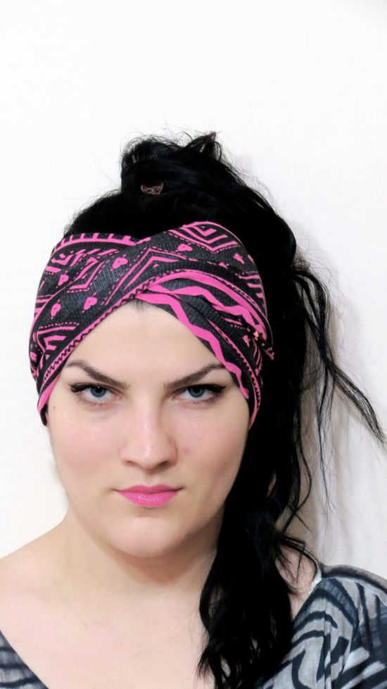 Stretch Twist Head band Neon Pink Black  Turban by EmofoFashion, $20.00