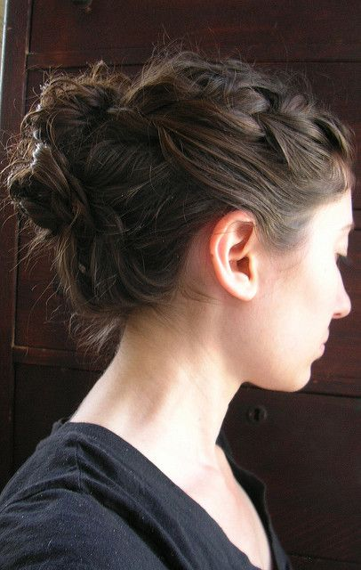 Messy bun with a French braid- I am really loving this kind of hair styles :)