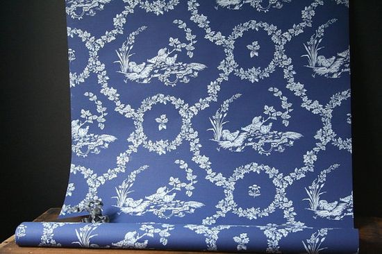 The walls would be white, but I would love to line a few shelves or cupboards with some of this pretty blue wallpaper. #DeborahBeau