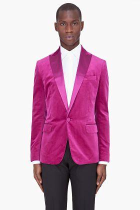Dsquared2 Fuchsia Silk Trim Velvet Blazer for men
