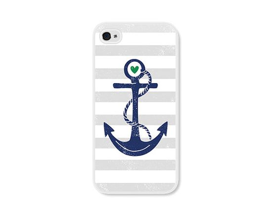 Striped Anchor Apple iPhone 5 Case  Plastic iPhone 5 by fieldtrip