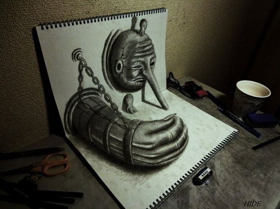 3D illustrations in a simple sketchbook - amazing!