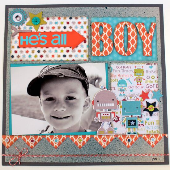 Scrapbook page - like the colors - HE'S ALL BOY - Scrapbook.com