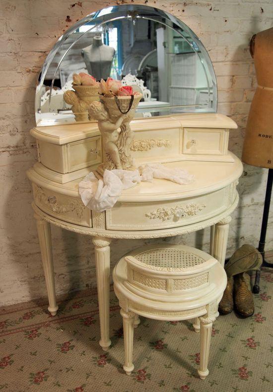 Painted Cottage Chic Shabby Cream Romantic Vanity. $565.00, via Etsy.