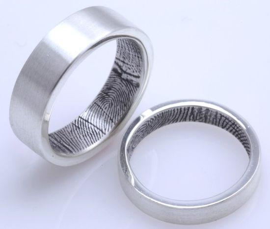 Fingerprinted wedding bands