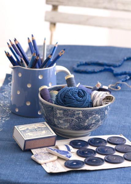 beautiful blue bowl & pitcher