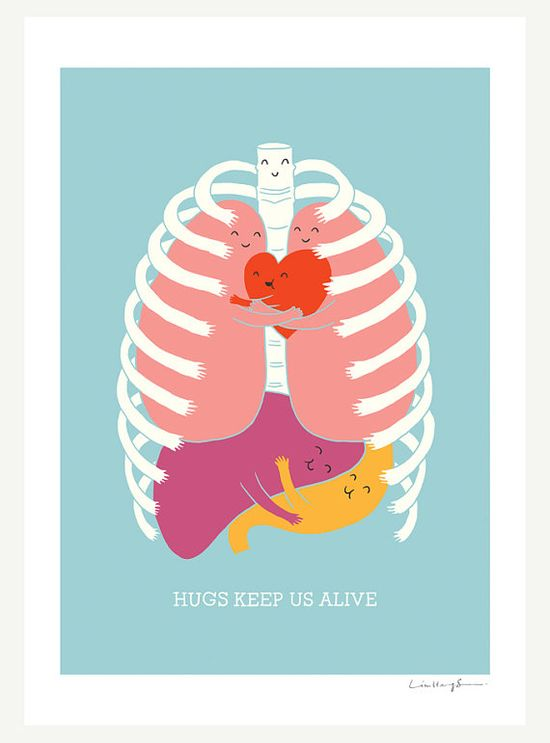 Hugs Keep Us Alive Print by ilovedoodle on Etsy. @Morgan Burrell - This is so perfect for you. It's all organ-y and you love hugs!