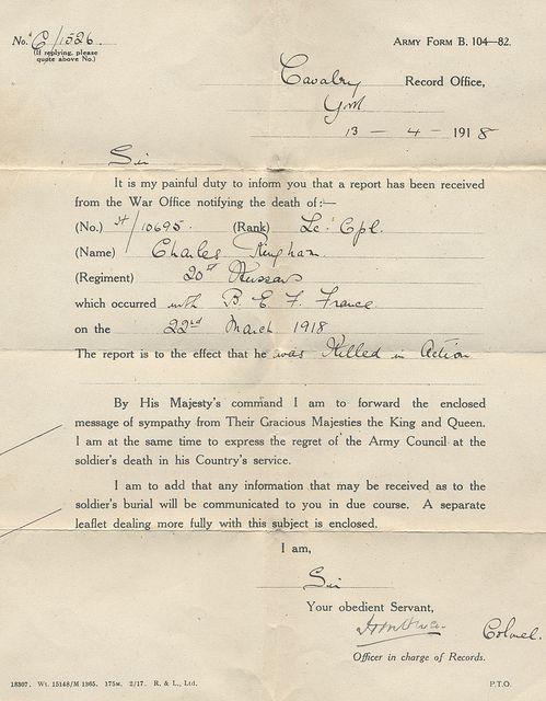 1918 World War I British Death Telegram.