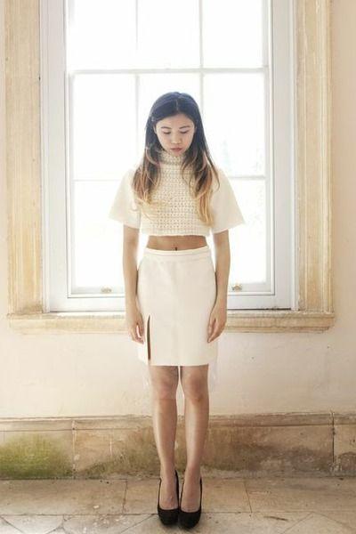 pencil skirt handmade skirt - cropped top handmade top