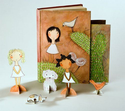 Paper Doll Fun by Carla Sondhei who shows you how to make your own in an unscary way.#DIY #Paper_Dolls #Carla_Sondheimm