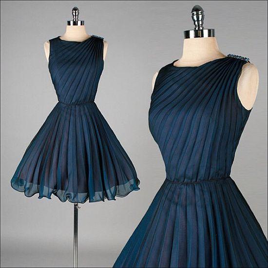 ~Vintage deep blue party dress