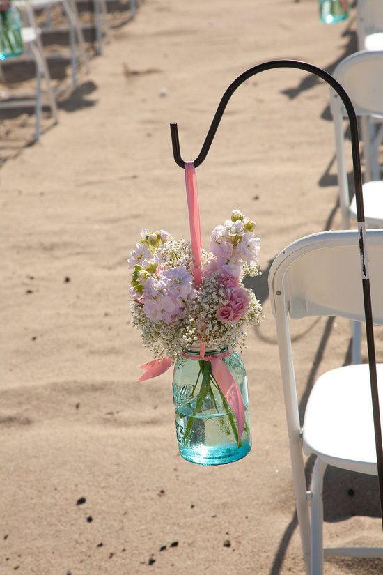 Aisle hook for mason jar flower arrangements