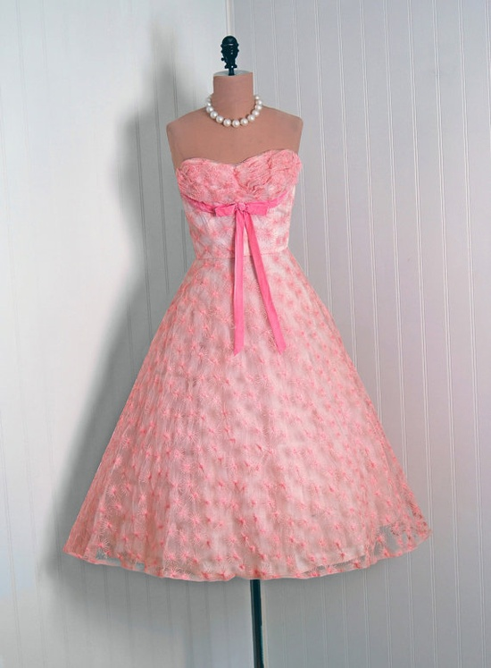 Pretty in pink. 1950s lace dress.