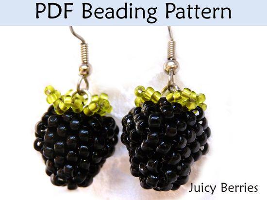 Beading Tutorial, Beaded Berries, Earrings, Jewelry Making Pattern, Raspberry, Blackberry, Bead Inst on Luulla