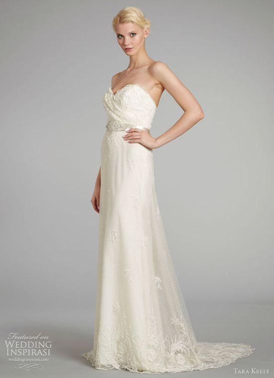 tara keely wedding dresses fall 2012 sheath gown beaded embroidered net pleated beaded belt