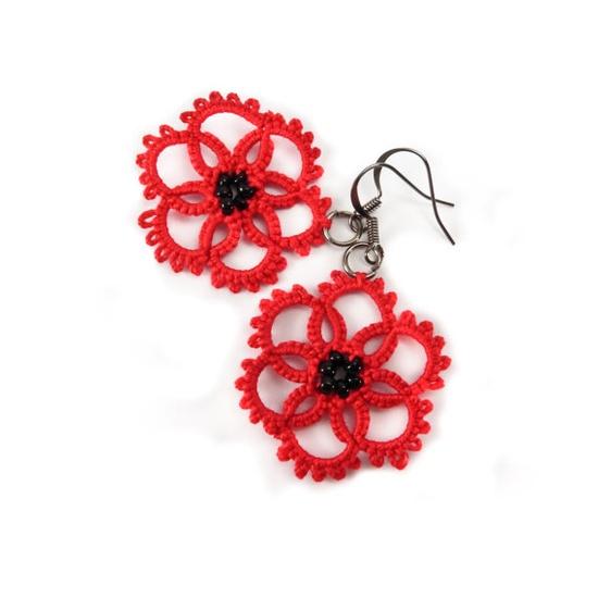 Red tatted lace earrings - poppy earrings