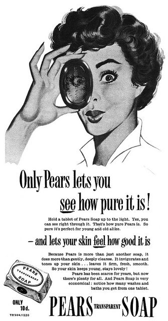 Only Pears lets you see how pure it is! #vintage #soap #ad #beauty #1950s