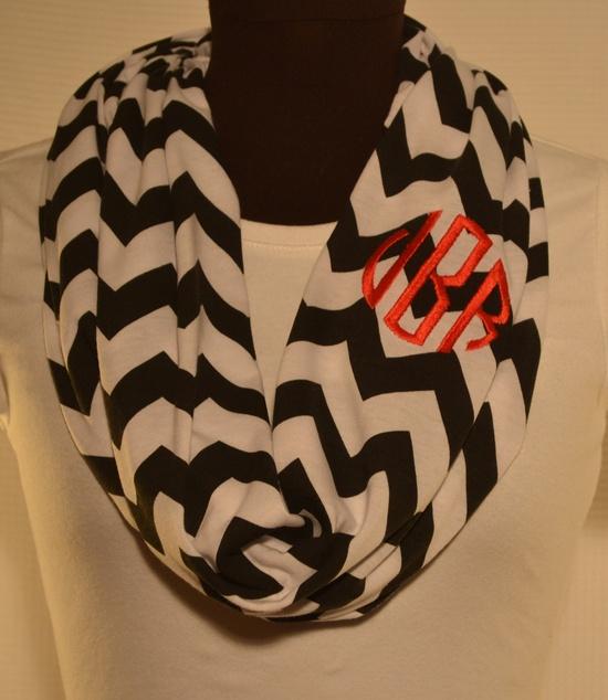 Monogrammed Chevron Infinity Scarf Knit Jersey. $25.00, via Etsy. CUTE!!