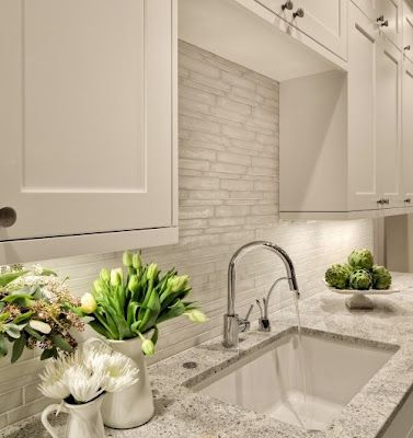 Classic Chic Home: White Kitchens and Marble Backsplashes