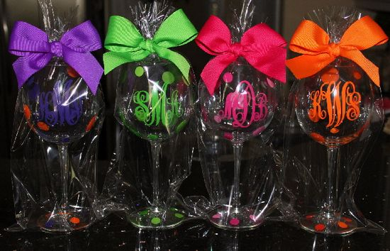 Bridesmaids Monogrammed Wine Glasses