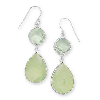 Green Amethyst and Prehnite Earrings