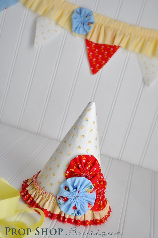 Fabric Birthday Party Hat and Bunting www.facebook.com/...