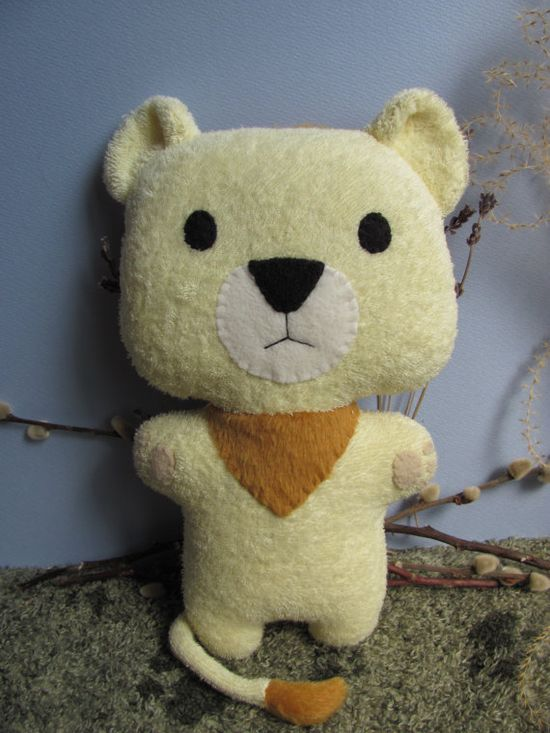 Lion Plush Stuffed Animal Toy Ecofriendly Upcycle by mypetmoon, $36.00