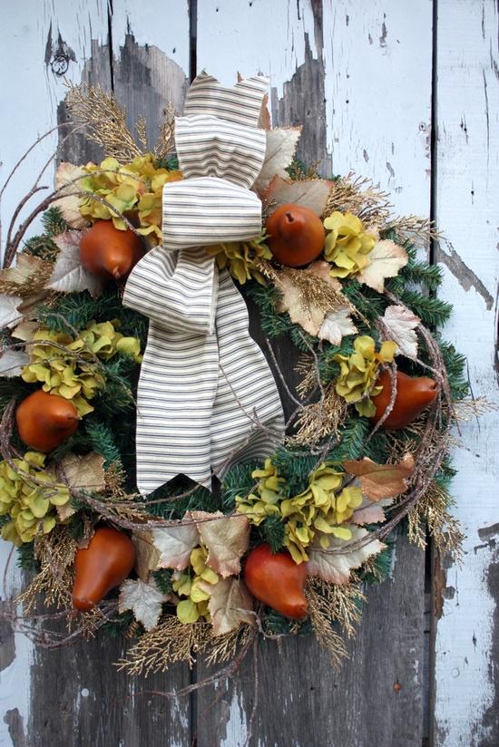 Christmas Wreath, Pears, Gold Cedar, Green Hydrangea, Grey Ticking Ribbon via Etsy.