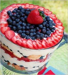 Red, White and Blueberry Trifle... would be cute for fourth of July!