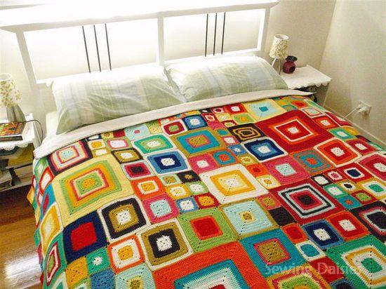 Crocheted blanket, granny squares