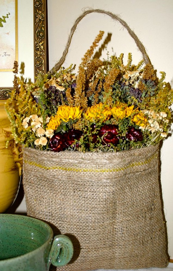 Dried Flower Arrangement in Burlap Bag