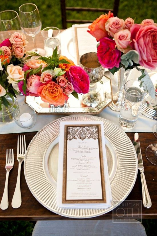 Beautiful Place Setting! The entire wedding is equally awesome ~   stylemepretty.com... by christianothstudi..., Floral Design by Valley Forge Flowers
