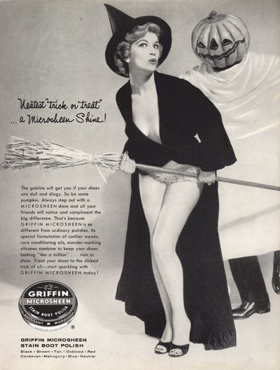 Spooktastically captivating Halloween themed ad from 1957 for shoe polish. #ad #pinup #girl #witch #women #costume #pumpkin #scary #vintage #retro #Halloween