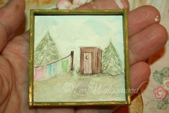 HAND PAINTED OUTHOUSE HANGING LAUNDRY - HANDMADE FRAME FOR MINI - Vintage Nest Designs, Creative Handmade and Hand Painted Designs