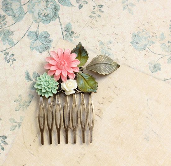 Floral Hair Comb Wedding Bridal Cream Rose by apocketofposies
