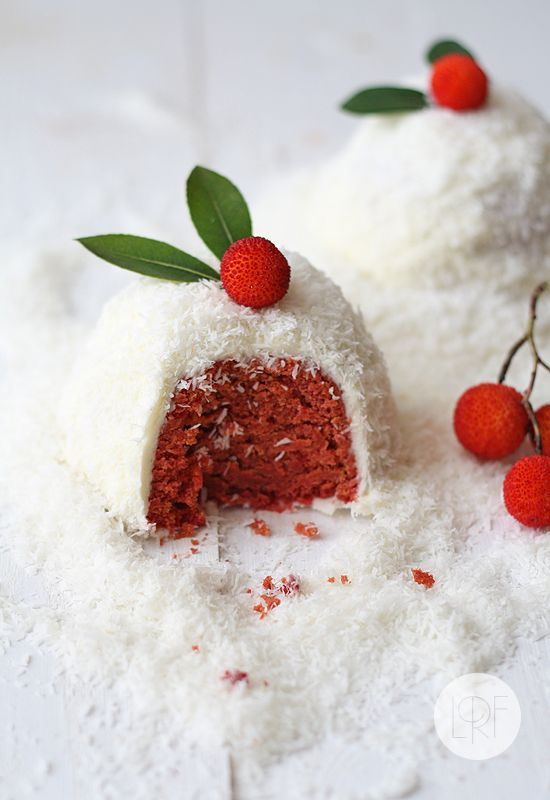 Natural Red Velvet cake or snowballs using no food coloring.