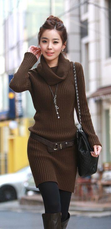 Fashion Long Sleeve Slim Sweater Dress with Belt