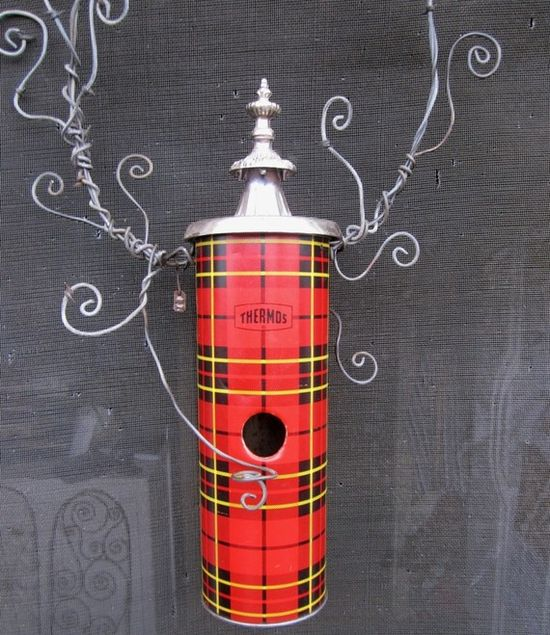 Whimsical Tartan Plaid Thermos Birdhouse