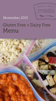 Gluten Free Dairy Free November 2013 Menu #OAMM #freezer #freezercooking #freezerfriendly #GFDF #glutenfree #dairyfree #allergy
