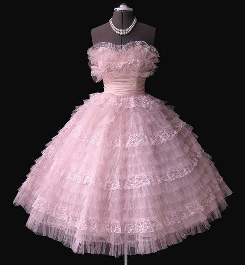 Frothy Pink 1950's Prom dress 1950'S