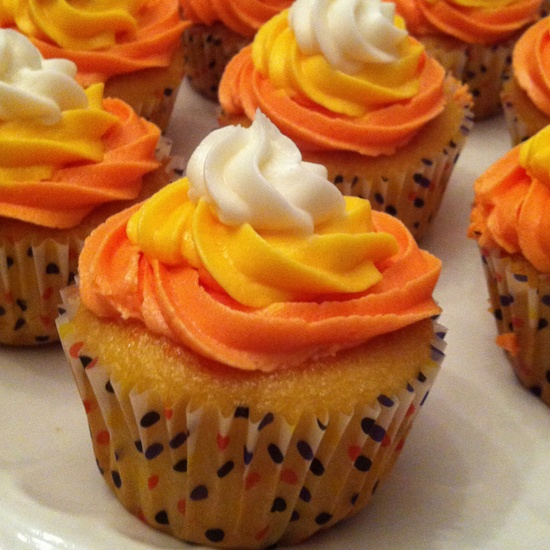 Candy corn inspired cupcakes!