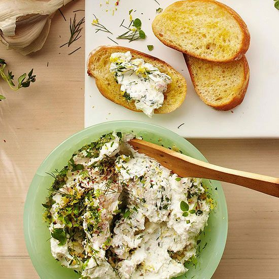 Garden fresh herbs and creamy goat cheese make a delicious spread. See more recipes from the magazine: www.bhg.com/...